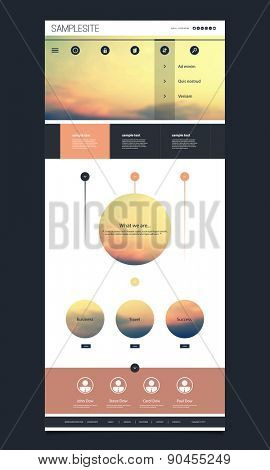 One Page Website Template with Sunset Image on the Header Design