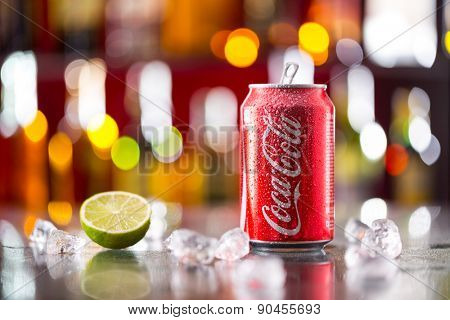 Prague, CZECH REPUBLIC - MAY 11, 2015 : Can of Coca-Cola on ice cubes. Coca-Cola is the one of the worlds favourite soft drinks.