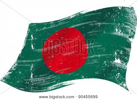 Bangladeshi grunge flag. Flag of Bangladesh in the wind with a texture