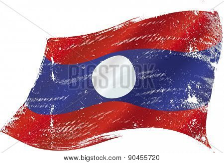 Laotian grunge flag. flag of Laos in the wind with a texture