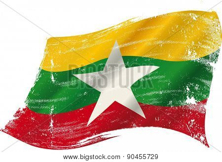 Burmese grunge flag. A grunge flag of Myanmar or Burma in the wind flag for you