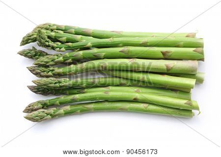 bunch of asparagus isolated on white.