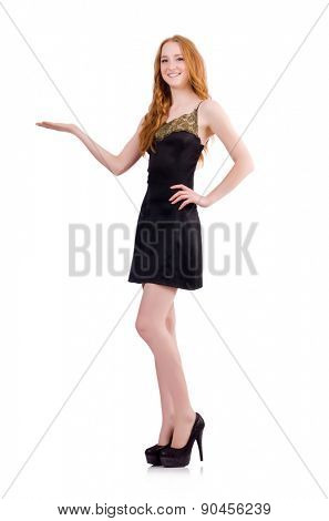 A girl in elegant black mini dress isolated on white