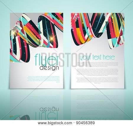 Double sided flyer template with an abstract design