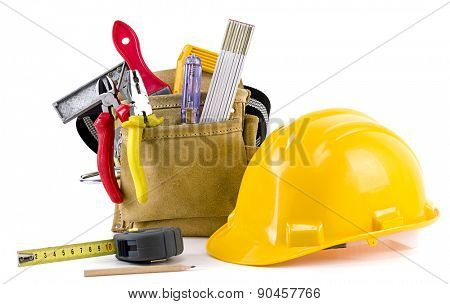 Carpenter tools isolated on white background.