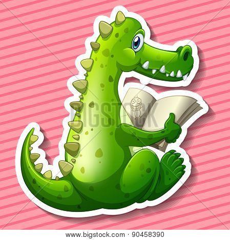 Green dragon reading book with pink background