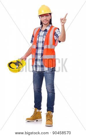Foreman with yellow helmet isolated on white