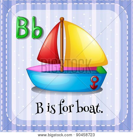English flashcard letter B is for boat