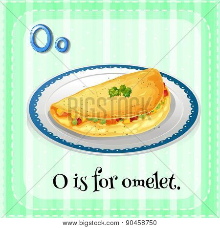 English flashcard letter O is for omelet