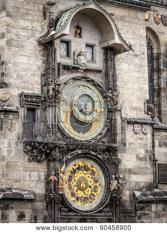 Astronomical clock on Old Town City Hall, Prague, Chech Republic