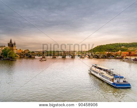 Panoramic view of Charles Bridge and Tower over the Vltava river in Praque,Czech Republic