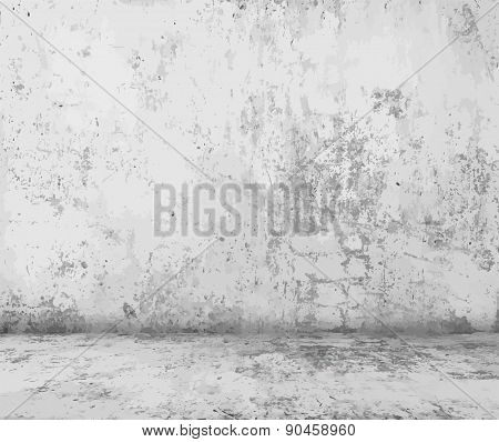 old empty room with concrete wall, grey interior background, vector