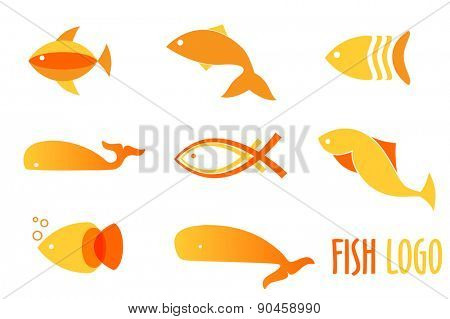 Vector illustration of warm colors golden fishes. Abstract fish logos set for seafood restaurant or fish shop