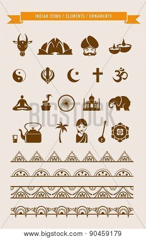 India - collection of icons, borders, brushes and elements