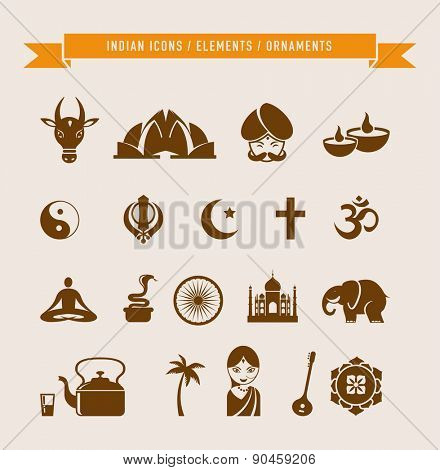 India - collection of icons and elements. Vector illustrations