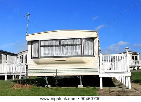 Caravans on a trailer park in England.