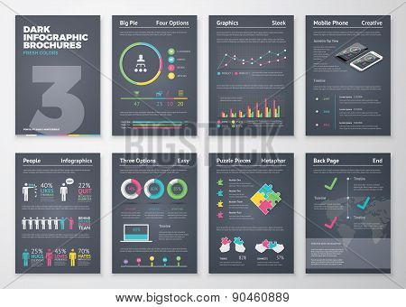 Colorful flat infographic templates on dark background