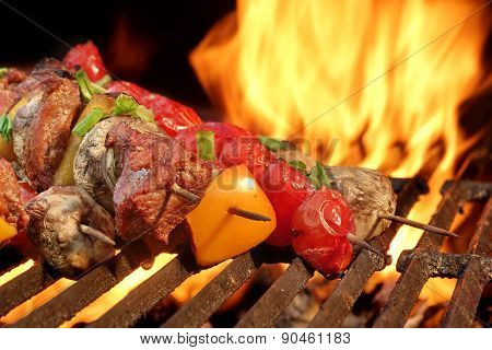 Mixed Meat And Vegetables Kebabs On Charcoal Barbeque Grill