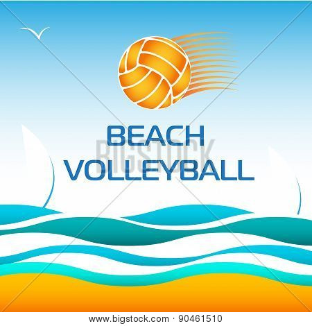 Beach Volleyball Bright Vector Design Element