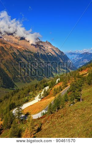 Early autumn in the Austrian Alps. A beautiful sunny day in the national park of the Grossglockner. The famous Alpine road Grossglocknershtrasse