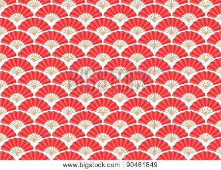 Japanese And Chinese Fans Seamless Pattern