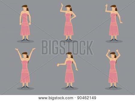 Cartoon Lady In Pink Dress Vector Character Illustration