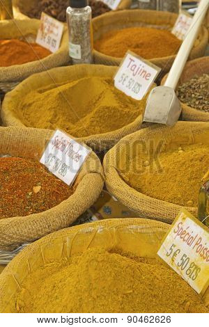 Various Kinds Of Spices Prepared To Sell At A Farmer's Market.