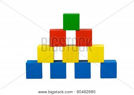 Pyramid From Wooden Color Cubes With Gubs