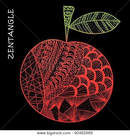 Apple Hand Drawn Zentangle