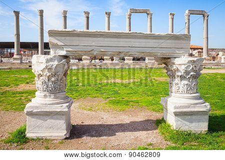 White Portico Fragment And Columns, Smyrna
