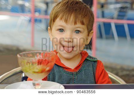 Little Boy Has Eaten All The Ice Cream