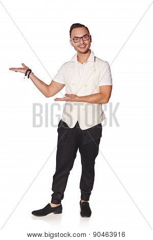 Man showing holding blank copy space on the palm