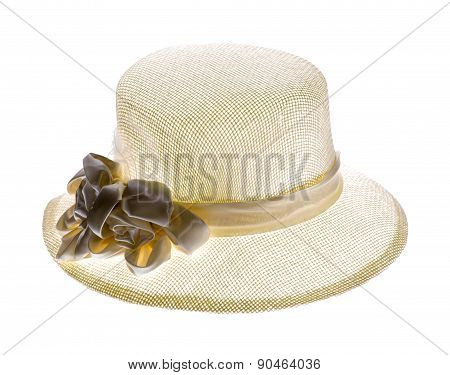 Vintage Woman Hat Or Woman Beach Hat Isolated On White Background