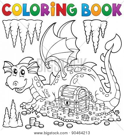 Coloring book with dragon and treasure - eps10 vector illustration.