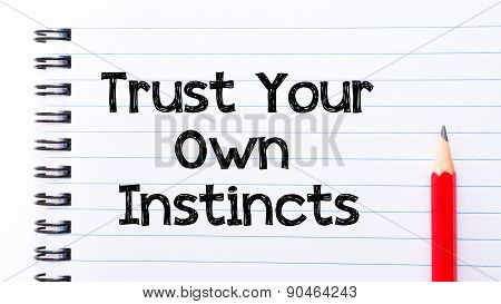 Trust Your Own Instincts Text Written On Notebook Page