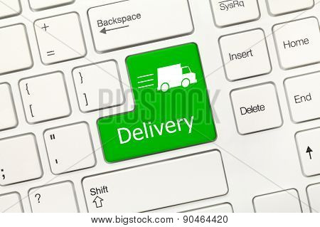 White Conceptual Keyboard - Delivery (green Key)