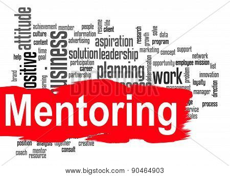 Mentoring Word Cloud With Red Banner