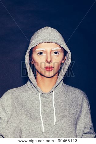 Hipster Girl In Grey Hoodie Gainst Dark Background, Not Isolated