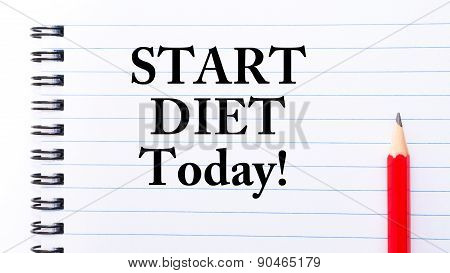 Start Diet Today Text Written On Notebook Page