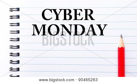 Cyber Monday Text Written On Notebook Page