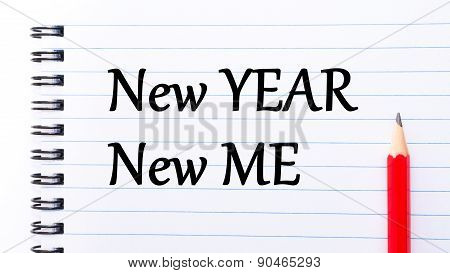 New Year New Me Text Written On Notebook Page