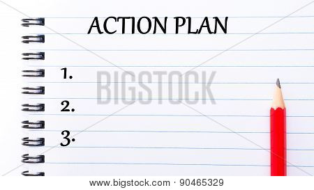 Action Plan Written On Notebook Page