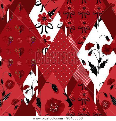 Patchwork wild floral seamless pattern texture