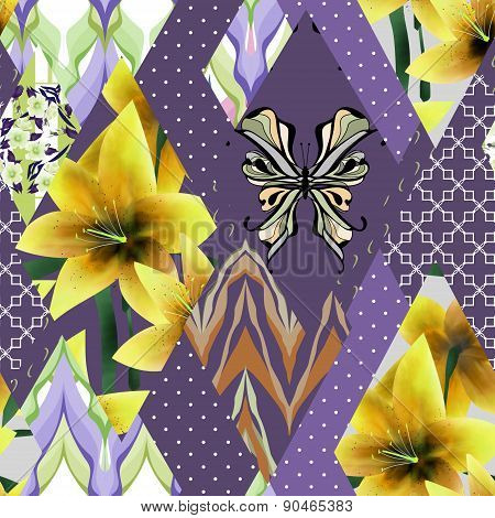 Patchwork seamless floral lilly pattern texture background with decorative elements