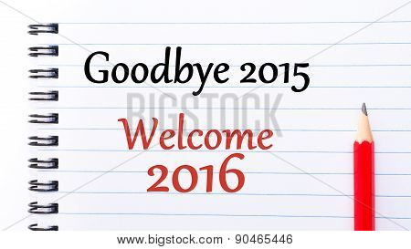 Goodbye 2015 Welcome 2016 Text