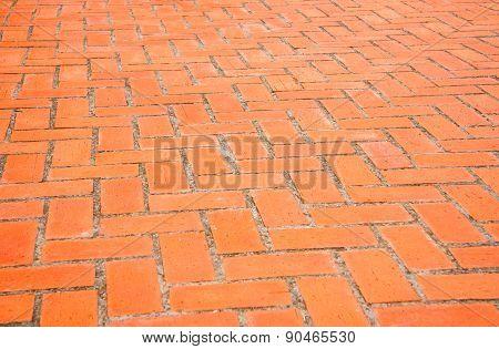 Background of rectangular orange brick paving stones