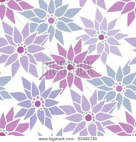 Seamless pattern with cute cartoon purple flowers print background