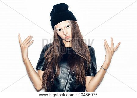 Young Bad Swag Teenage Girl In Black Beanie