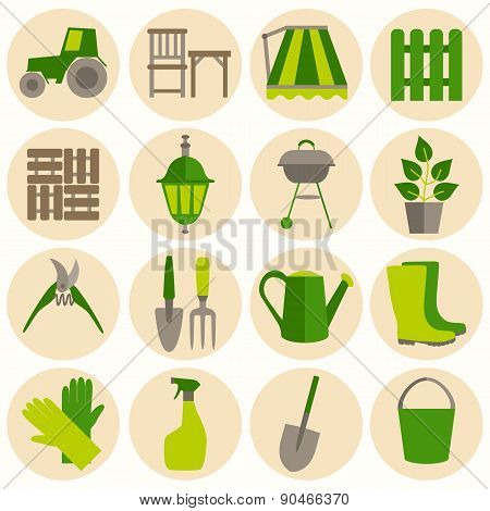 Flat design set of gardening tool icons