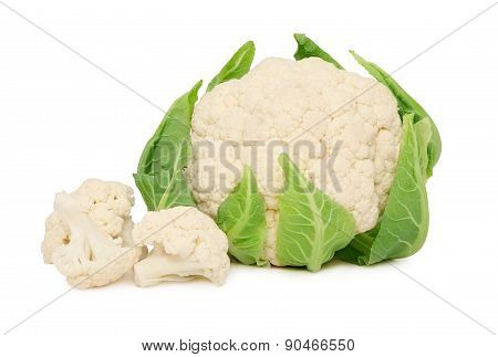 Ripe Cauliflower With Green Leaves (isolated)